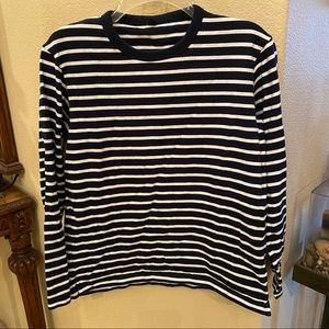 UNIQLO Navy & White Stripe Long Sleeve Top-Small